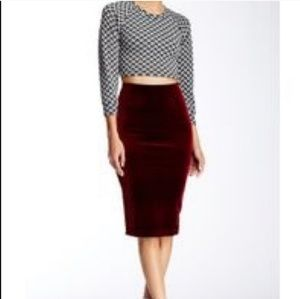 American Apparel Burgundy Velvet Pencil Skirt